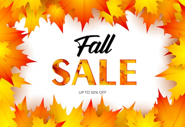 Bannière de vente au détail automne avec des feuilles d'érable Vecteur gratuit