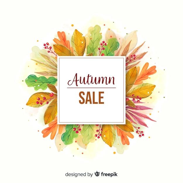 Bannière de vente automne aquarelle Vecteur gratuit