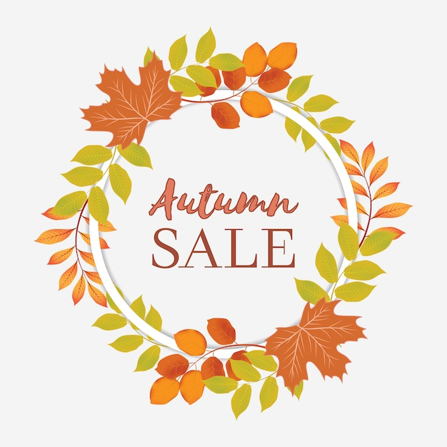 Bannière de vente automne avec couronne de cercle Vecteur Premium