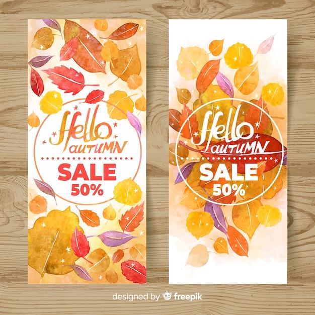 Bannière de vente d'automne dans le style aquarelle Vecteur gratuit