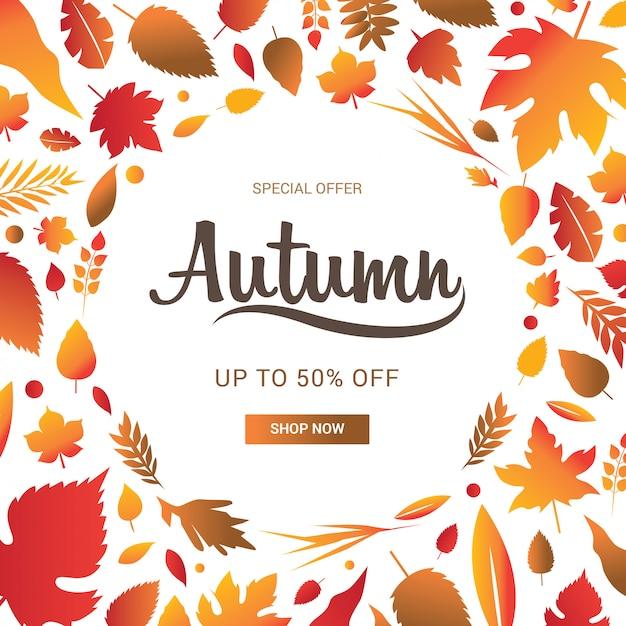 Bannière De Vente D'automne Décorer Avec Des Feuilles Pour La Vente De Shopping Vecteur Premium