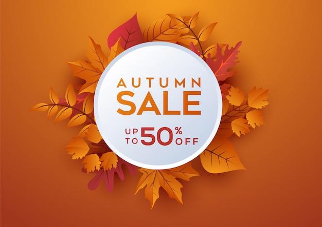 Bannière de vente automne décorer avec des feuilles Vecteur Premium