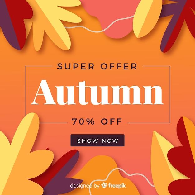 Bannière de vente automne design plat Vecteur gratuit
