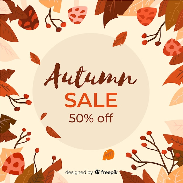 Bannière de vente automne dessinés à la main Vecteur gratuit