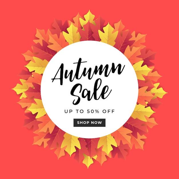 Bannière de vente automne pour la vente de shopping. Vecteur Premium