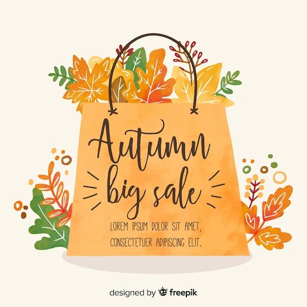 Bannière de vente automne style aquarelle Vecteur gratuit