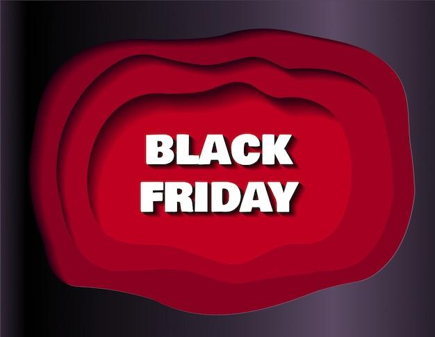 Bannière de vente black friday pour les magasins et les médias sociaux en style de papier découpé Vecteur Premium