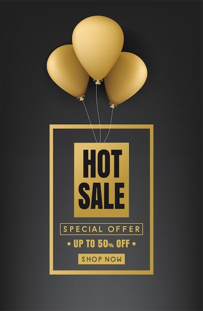 Bannière de vente chaude Vecteur Premium