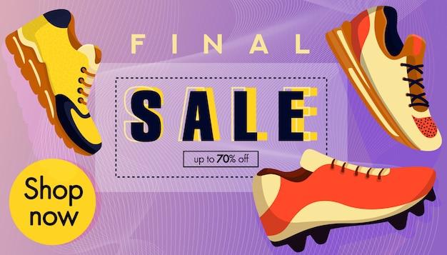 Bannière de vente. chaussures de sport Vecteur Premium
