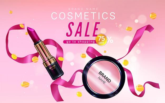Bannière De Vente De Cosmétiques Avec Rouge à Lèvres, Maquillage Fard à Joues Vecteur gratuit