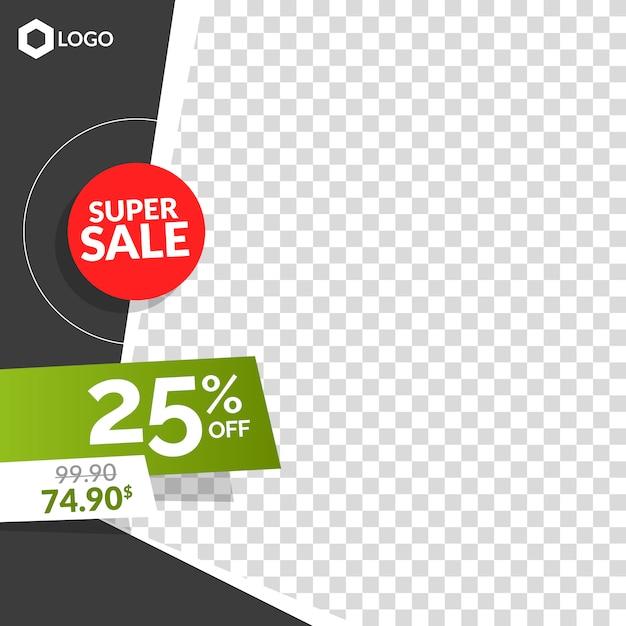 Bannière de vente créative moderne modifiable avec vide abstrait Vecteur Premium