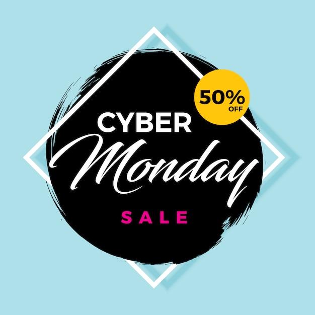 Bannière de vente cyber lundi 50% de réduction Vecteur Premium