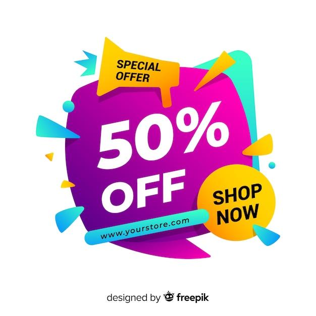 Bannière de vente dans un style coloré abstrait Vecteur gratuit
