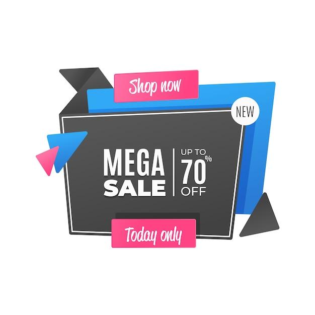 Bannière De Vente Dans Un Style Origami Vecteur gratuit