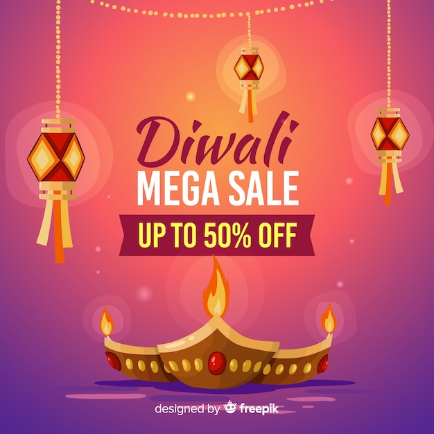 Bannière de vente diwali dessiné à la main Vecteur gratuit