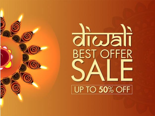 Bannière de vente diwali. Vecteur Premium