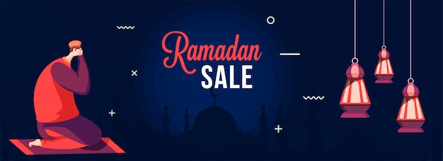 Bannière De Vente Du Ramadan Avec Un Homme Musulman Faisant La Prière (namaz) Sur Un Tapis à Fronnt De La Mosquée Silhouette. Vecteur Premium