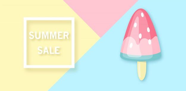 Bannière de vente d'été avec crème glacée au melon d'eau. Vecteur Premium