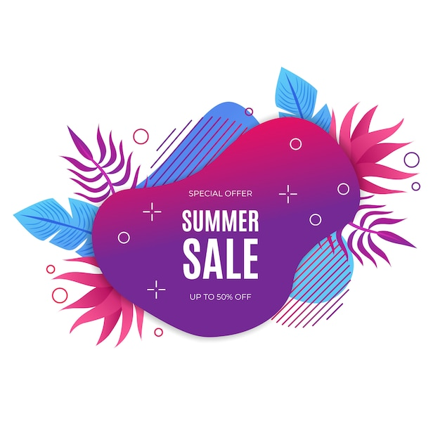 Bannière de vente d'été dégradé avec éléments de flotal Vecteur gratuit