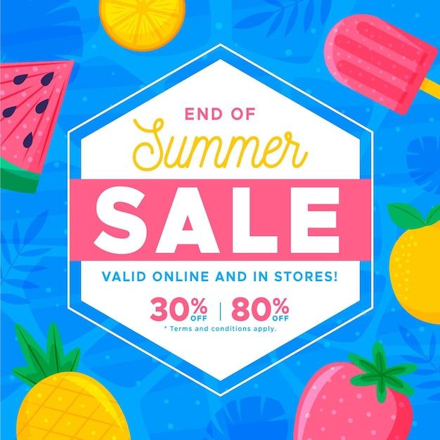 Bannière De Vente D'été De Fin De Saison Avec Fruits Et Glaces Vecteur gratuit