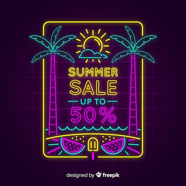 Bannière de vente d'été de néons Vecteur gratuit