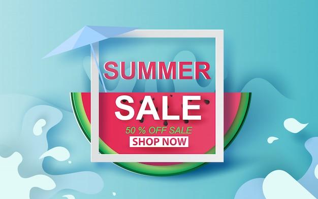 Bannière de vente d'été avec la pastèque. Vecteur Premium