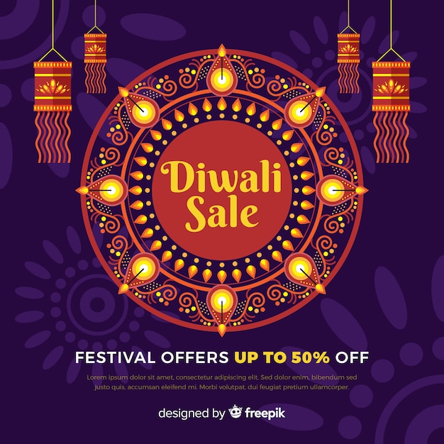 Bannière de vente festival diwali design plat Vecteur gratuit