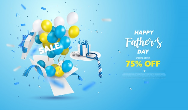 Bannière De Vente De Fête Des Pères Heureux Ou Promotion Sur Fond Bleu. Boîte Surprise Ouverte Avec Ballon Jaune, Blanc Et Bleu. Vecteur Premium