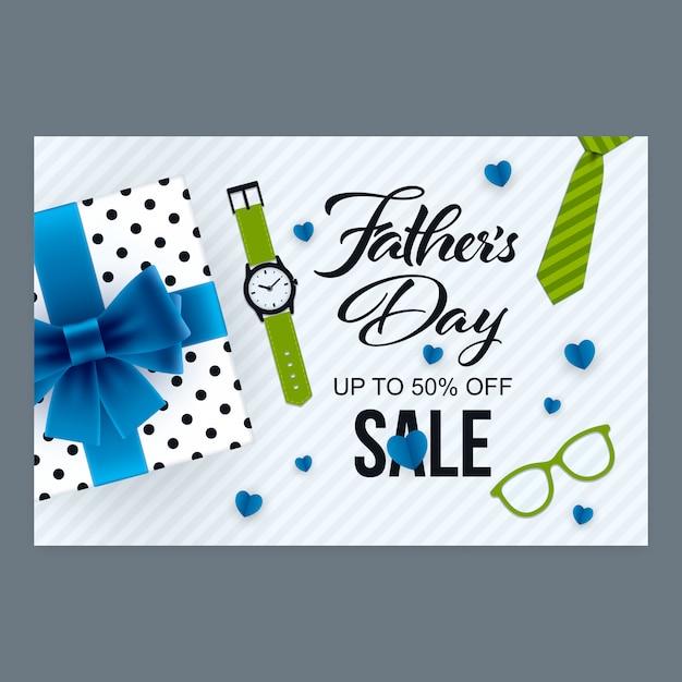 Bannière de vente fête des pères Vecteur Premium