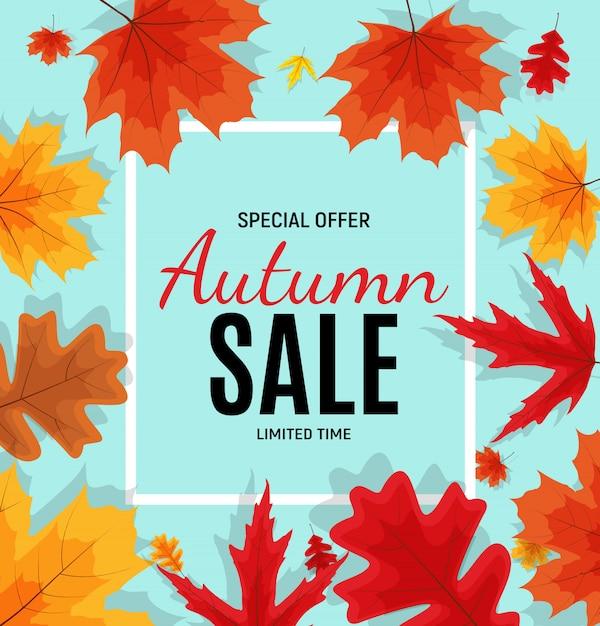 Bannière de vente de feuilles d'automne brillant. carte de réduction professionnelle Vecteur Premium