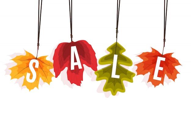 Bannière de vente de feuilles d'automne brillant. carte de remise professionnelle. Vecteur Premium