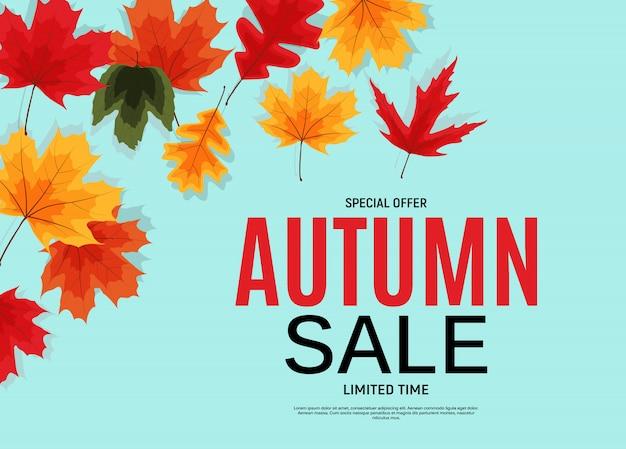 Bannière de vente de feuilles d'automne brillant. Vecteur Premium
