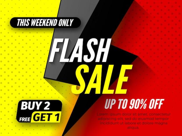 Bannière De Vente Flash, Jusqu'à 90% De Réduction. Ce Week-end, N'en Achetez Que 2, Gratuitement 1. Vecteur Premium