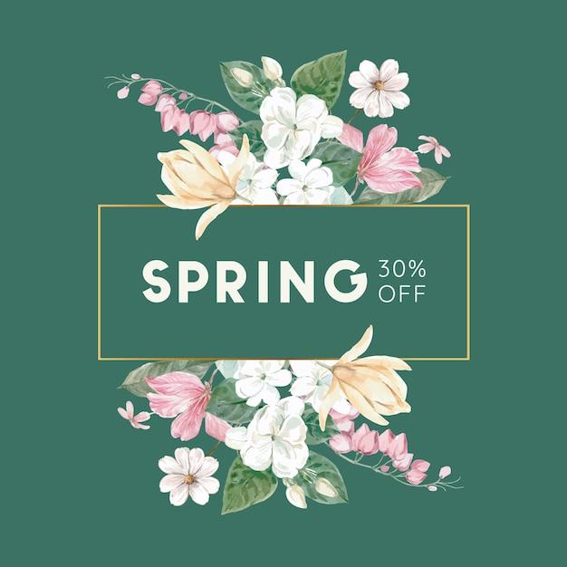 Bannière de vente florale avec cadre Vecteur gratuit