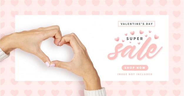 Bannière De Vente Happy Valentine's Day Avec Motif Coeurs Vecteur gratuit