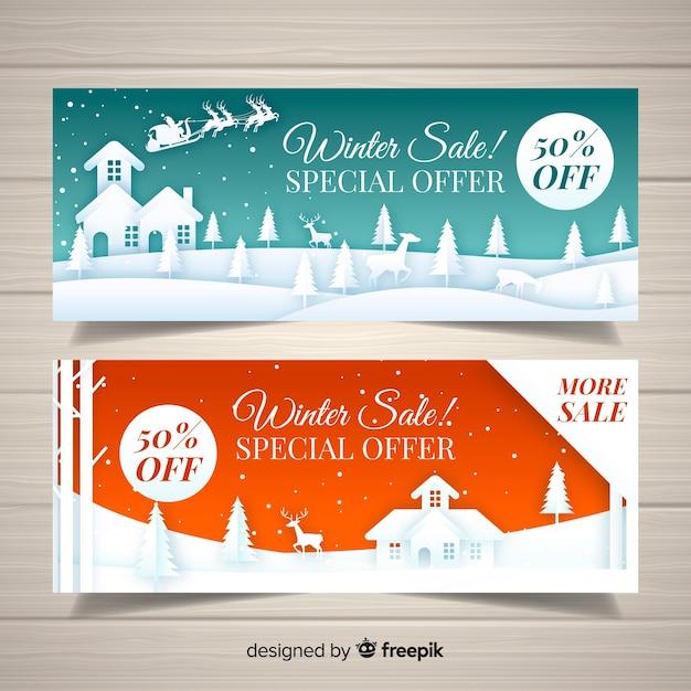 Bannière de vente d'hiver Vecteur gratuit