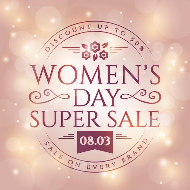 Bannière De Vente De La Journée De La Femme. Vecteur Premium