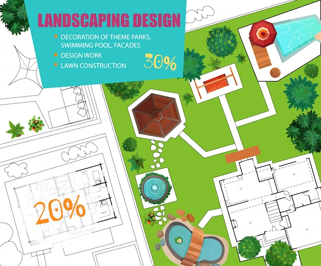 Bannière De Vente Landscape Design Top View Vecteur gratuit