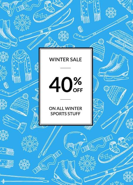 Bannière de vente de matériel de sports d'hiver dessiné à la main Vecteur Premium