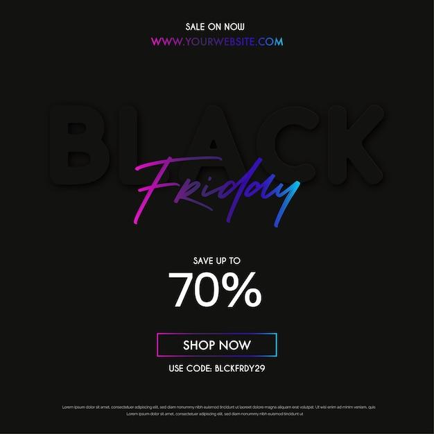 Bannière De Vente Moderne Black Friday Avec Un Design Minimal Vecteur gratuit