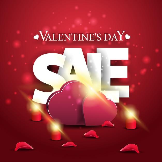 Bannière de vente moderne saint valentin rouge avec deux coeurs Vecteur Premium