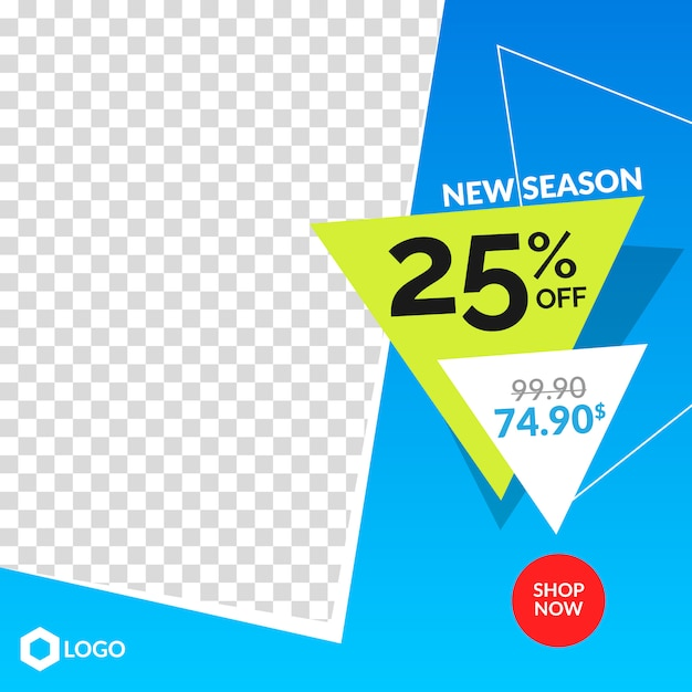 Bannière de vente modifiable moderne pour instagram et web avec cadre abstrait vide Vecteur Premium