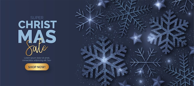 Bannière De Vente De Noël Bleu Avec Des Flocons De Neige Brillants Vecteur gratuit