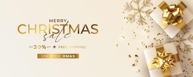 Bannière De Vente De Noël Avec Des Cadeaux Réalistes Vecteur gratuit
