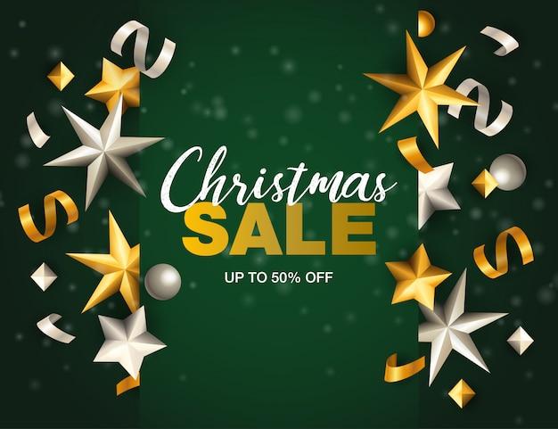 Bannière De Vente De Noël Avec Des étoiles Et Des Rubans Sur Un Sol Vert Vecteur gratuit