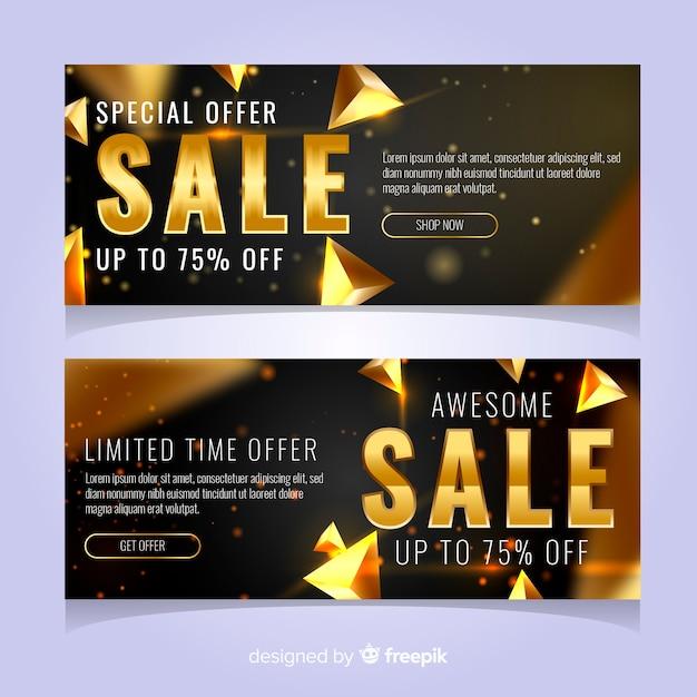 Bannière de vente noire avec détails dorés Vecteur gratuit