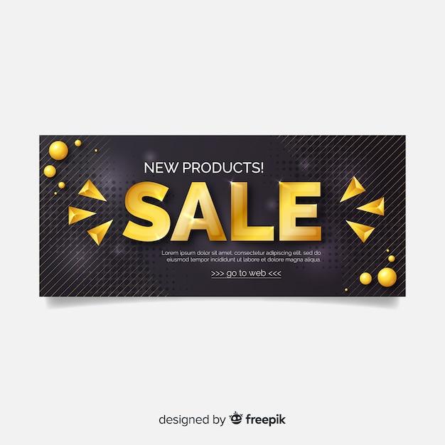Bannière de vente d'or et noir Vecteur gratuit