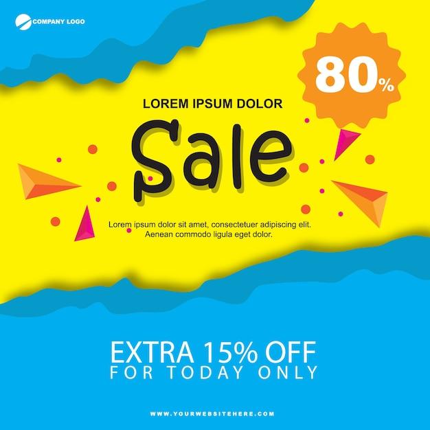 Bannière de vente de papier plat bleu et jaune Vecteur Premium