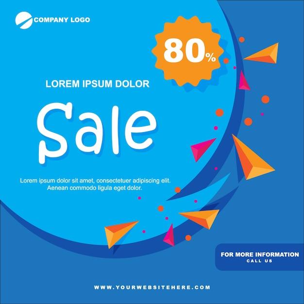 Bannière de vente de papier plat bleu Vecteur Premium