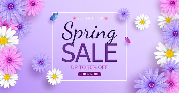 Bannière de vente de printemps avec de belles fleurs colorées fleurissent. Vecteur Premium